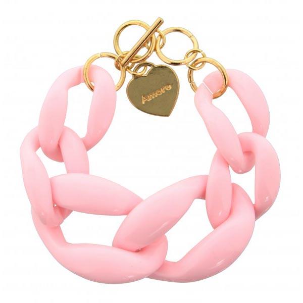 Fashion armband big chain Roze