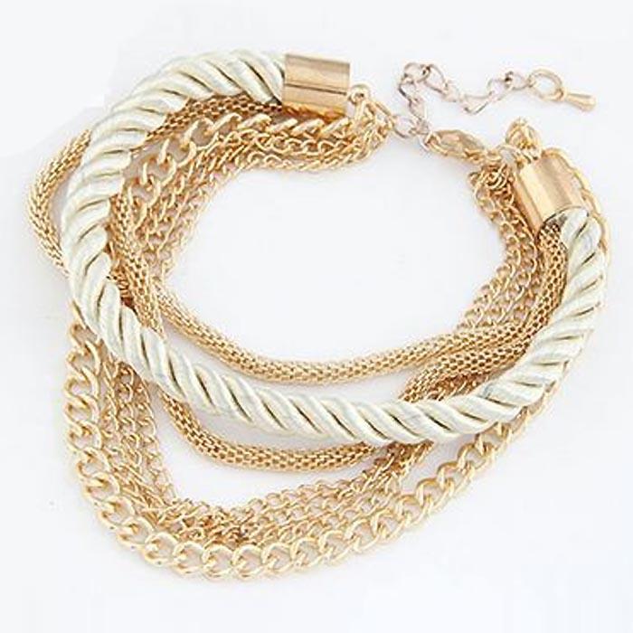 Fashion armband Metal Chain Braided rope Beige
