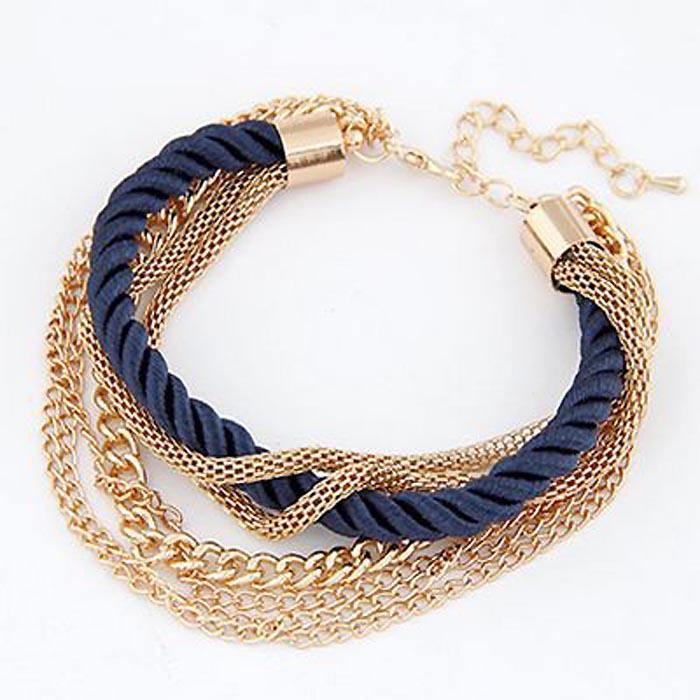 Fashion armband Metal Chain Braided rope Blue