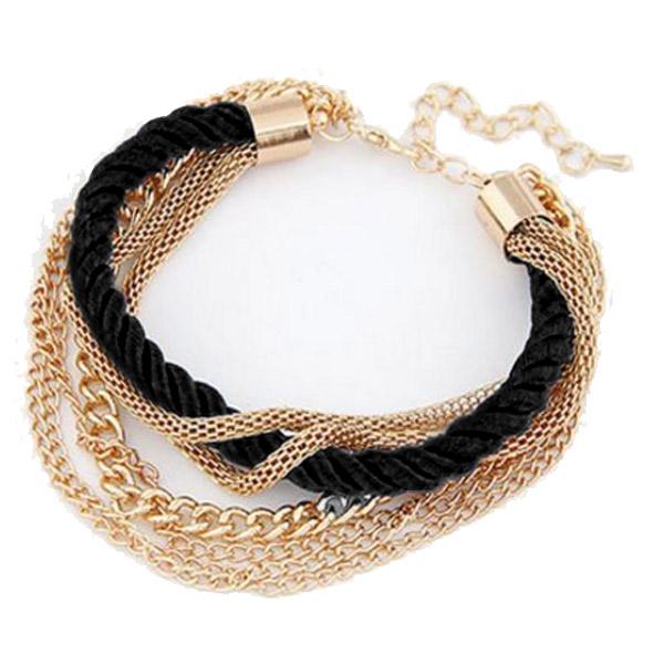 Fashion armband Metal Chain Braided rope Zwart