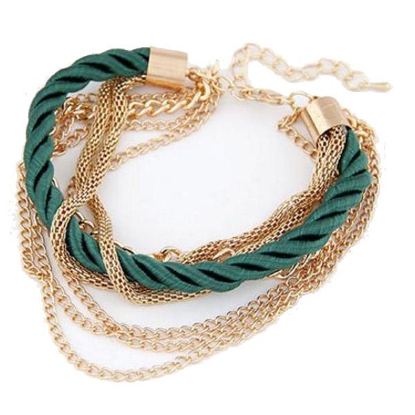 Fashion armband Metal Chain Braided rope Groen