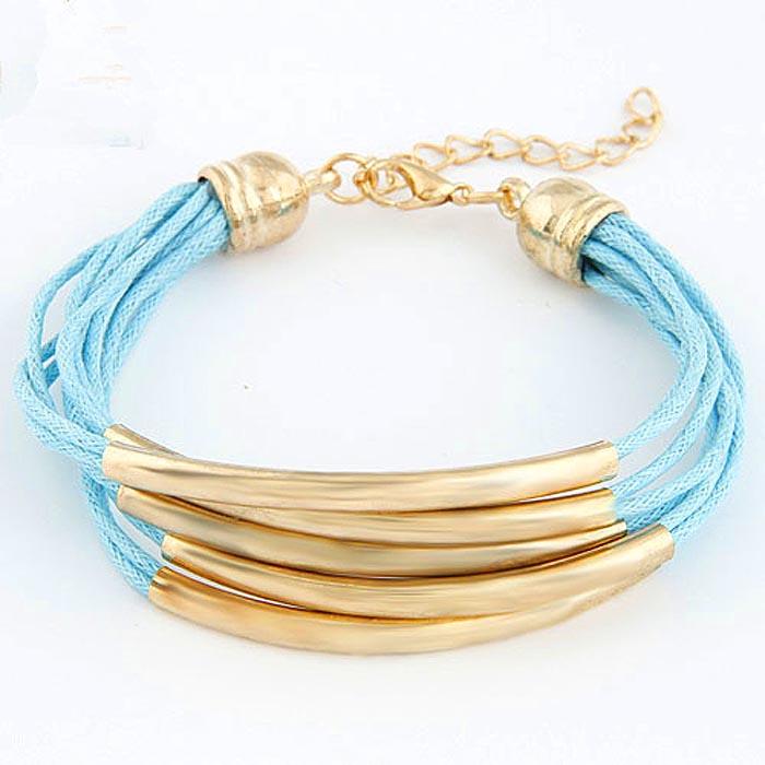 Fashion Armband Multiwrap Goud met lichtblauw