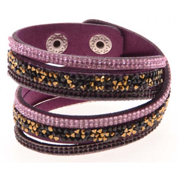 Fashion armband Wrap met Glitter Paars A-B19.9
