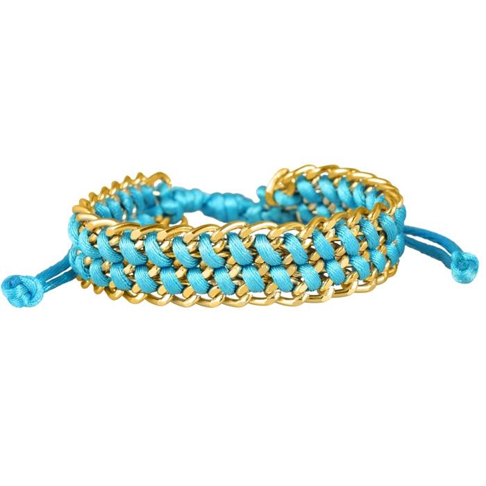 Fashion dames armband blauw met goud