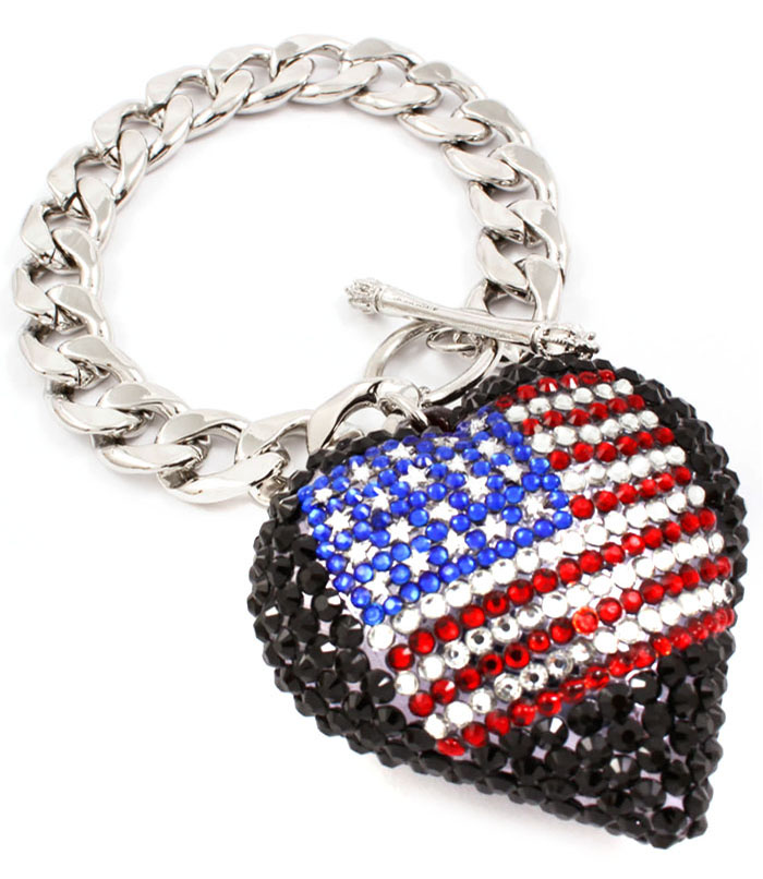 Fashion dames armband USA Flag Black