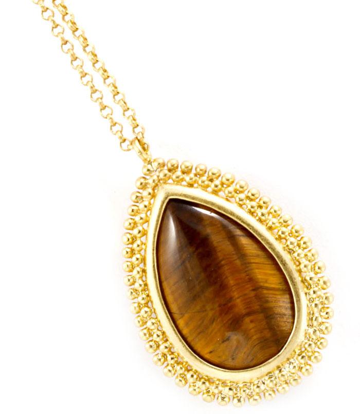 Fashion dames ketting voorzien van grote steen. deze ketting is verstelbaar in de lengte.