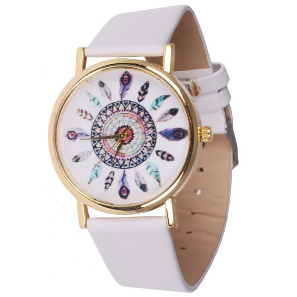 Fashion horloge Feather Dial White