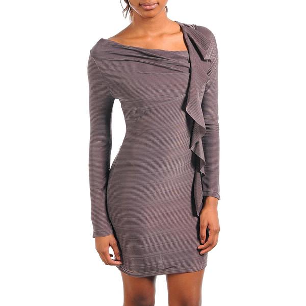 Fashion jurk Ruffles brown