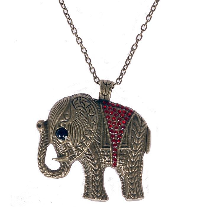 Fashion ketting Chrystal Elephant Red