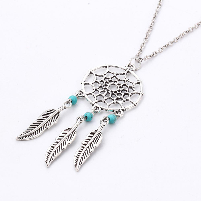Fashion ketting Dreamcatcher Leaf Turquoise beads