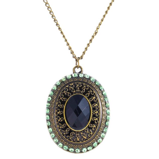 Fashion ketting Medallion Black Stone Green zircon