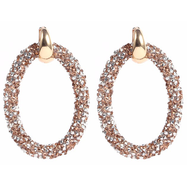 Cilla Jewels oorbellen Crystal Oval Gold Brown
