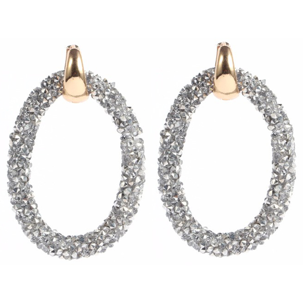 Cilla Jewels oorbellen Crystal Oval Gold Silver