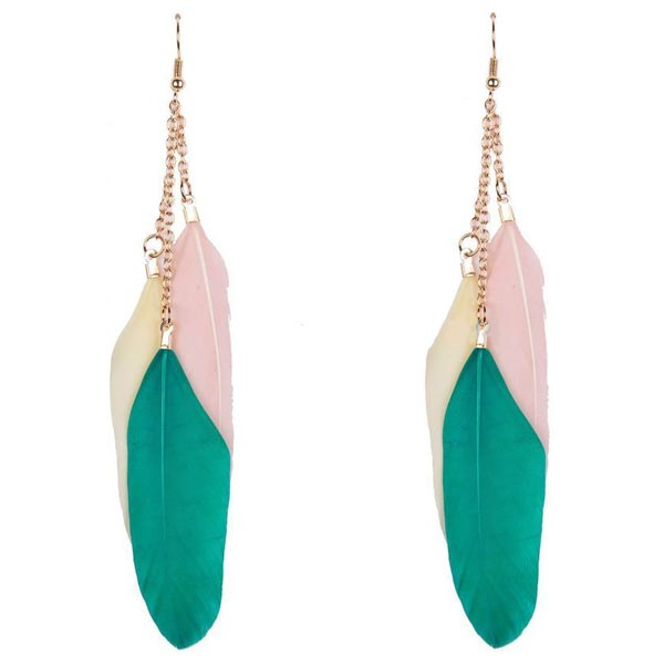 Fashion oorbellen Veren Trio Groen Roze Wit