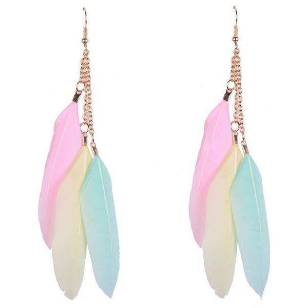 Fashion oorbellen Veren Trio Turquoise Geel Roze