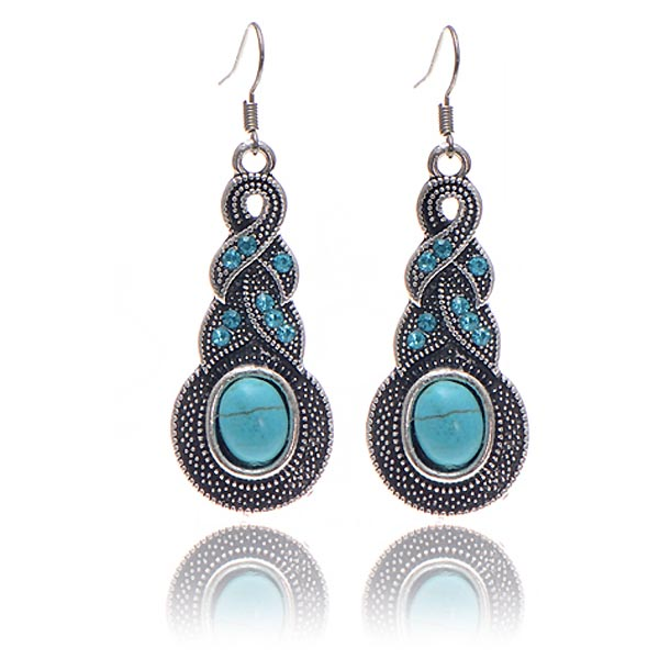 Fashion Drop oorbellen Vintage Turquoise