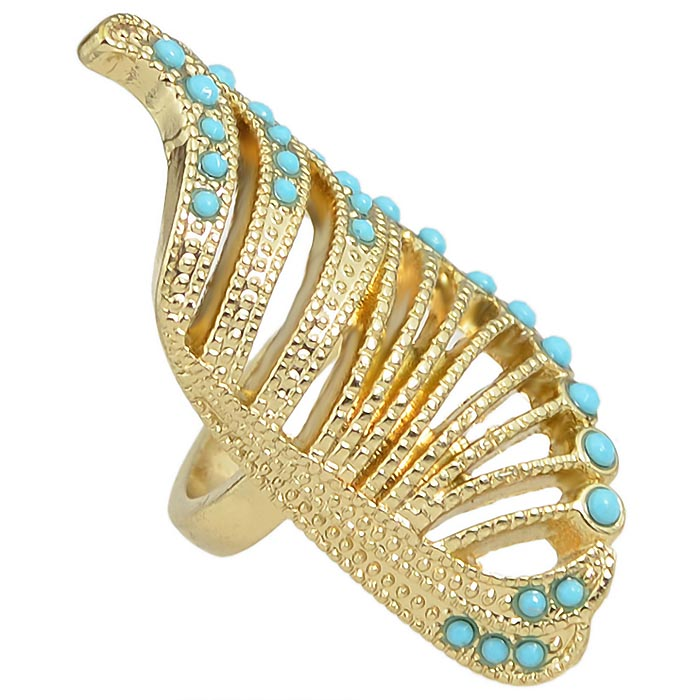 Fashion ring Wings Goud Turquoise