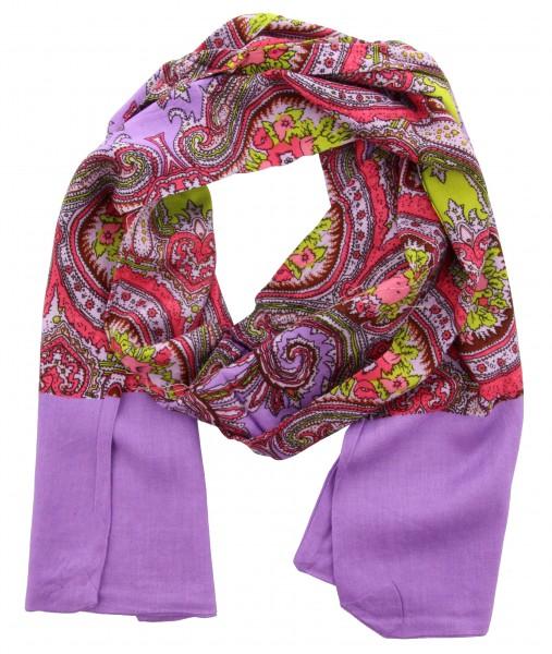 Fashion Sjaal Flowers Multi Paars