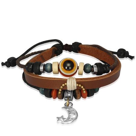 Leren Wrap armband Evil Eye