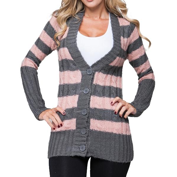 Gebreid dames vest Striped Pink