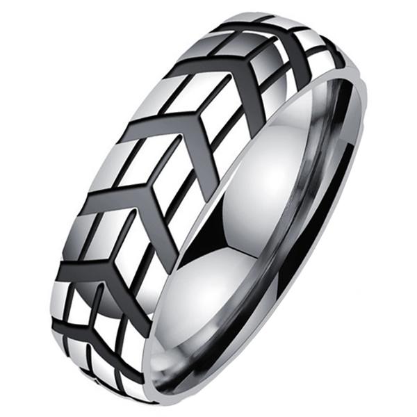 Gegroefde edelstaal heren ring-18mm