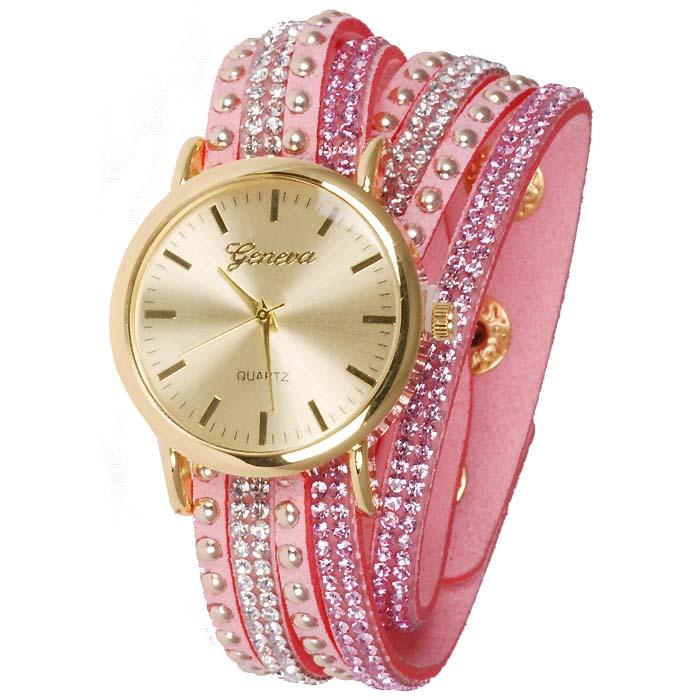 Geneva armband horloge Studs Pink Gold