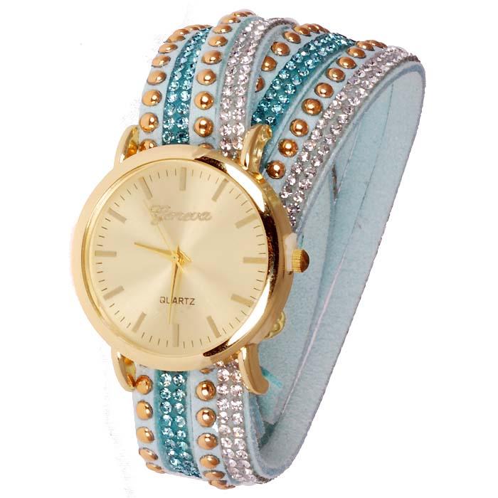 Geneva armband horloge Studs Turquoise Gold