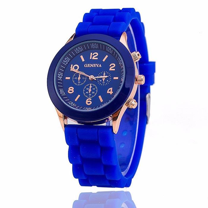 Geneva dames horloge silicon blue Gold