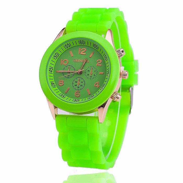 Geneva dames horloge Silicon Green Gold