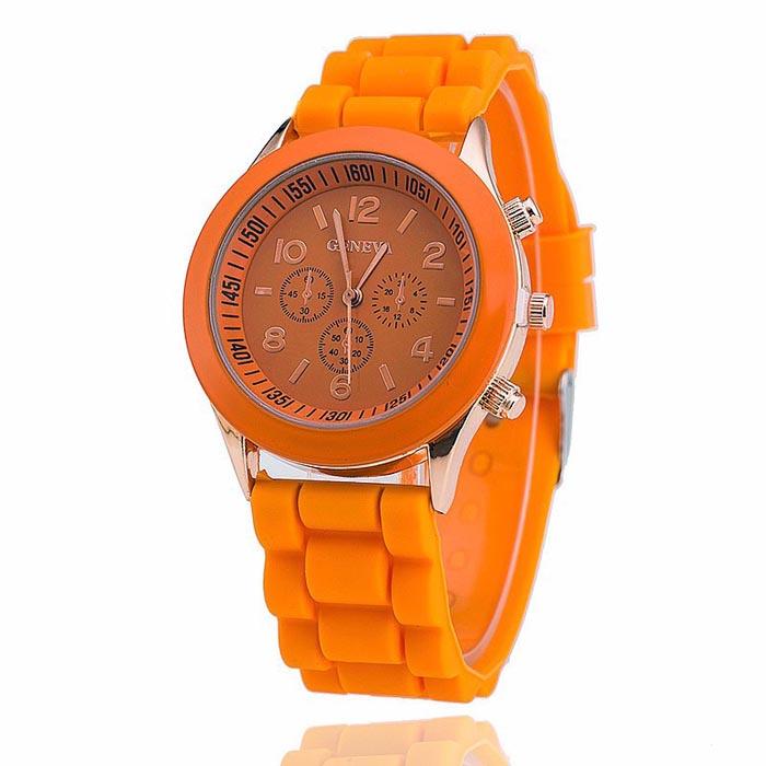 Geneva dames horloge Silicon Orange Gold