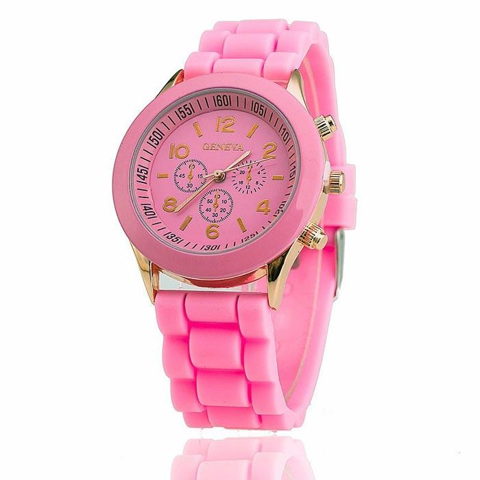 Geneva dames horloge Silicon Pink Gold