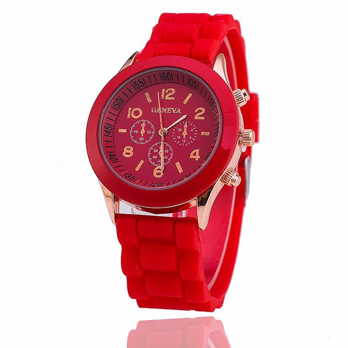 Geneva dames horloge Silicon Red Gold