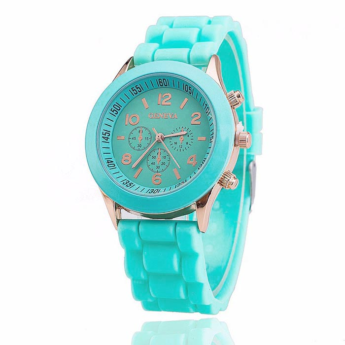 Geneva dames horloge Silicon Turquoise Gold