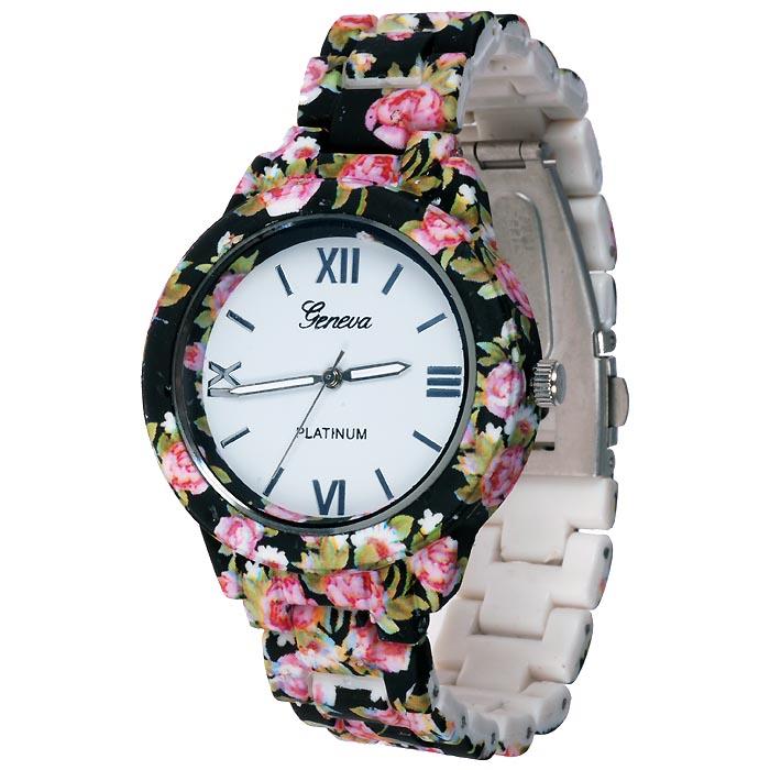 Geneva fashion horloge Flower Black