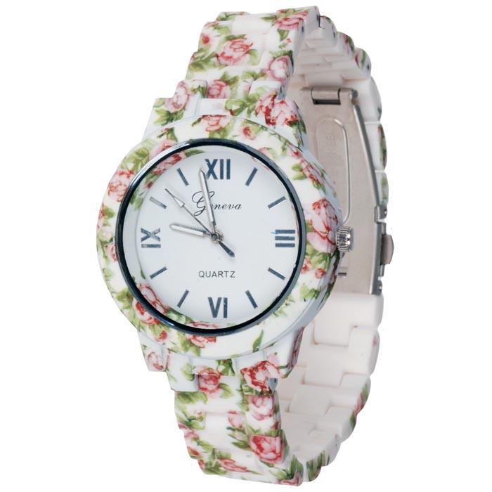 Geneva fashion horloge Flower Green