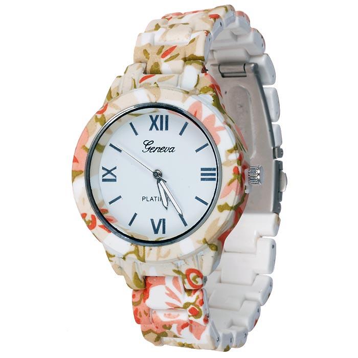 Geneva fashion horloge Flower Pink