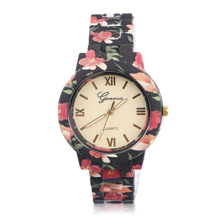 Geneva fashion horloge Flower Print