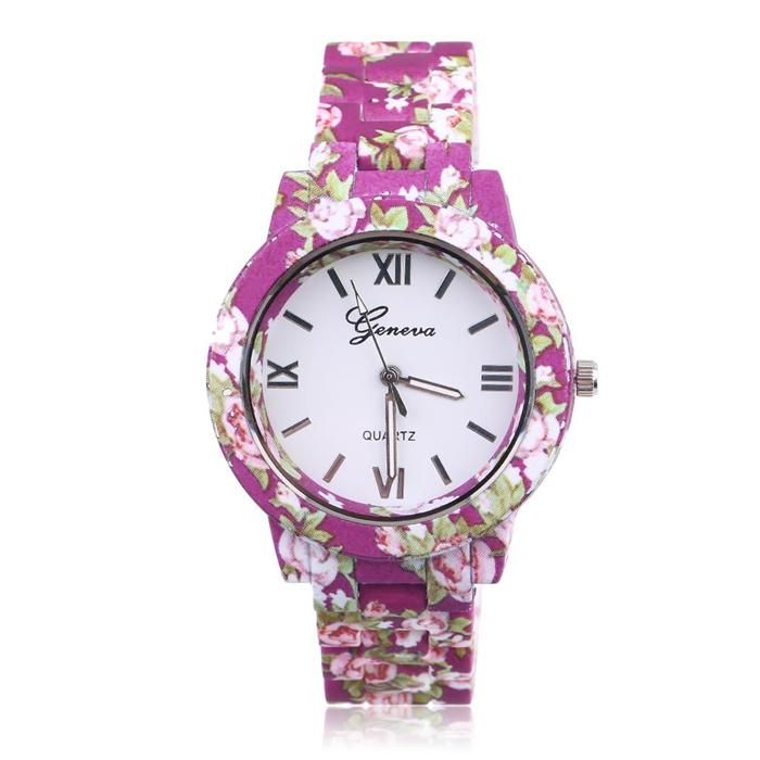 Geneva fashion horloge Flower Print Purple