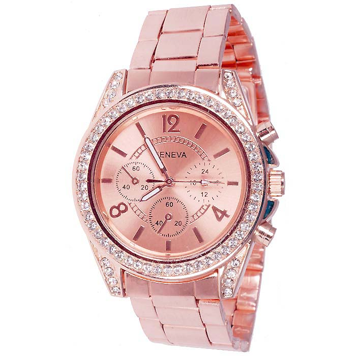 Geneva Fashion horloge Rhinestone Chrono Rose