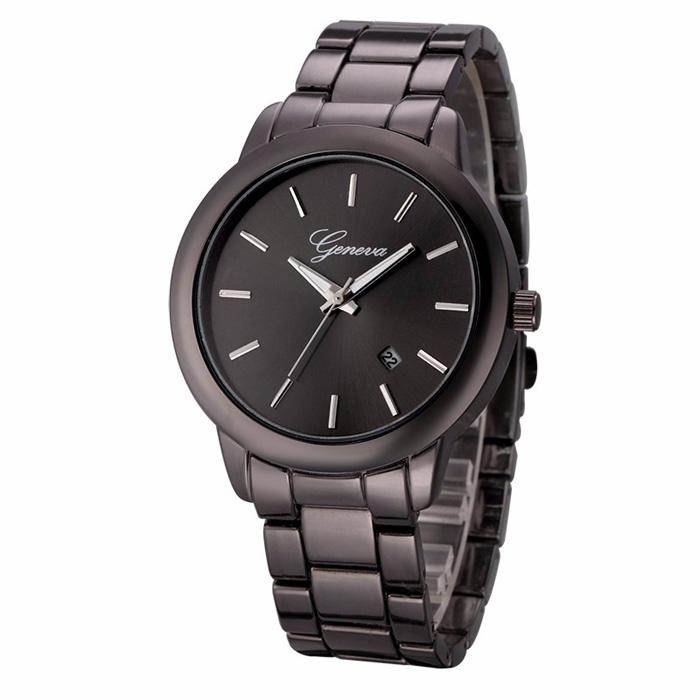 Geneva heren horloge Steel Business Black