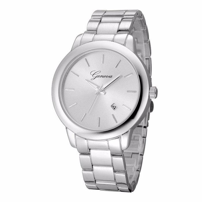 Geneva heren horloge Steel Business Silver