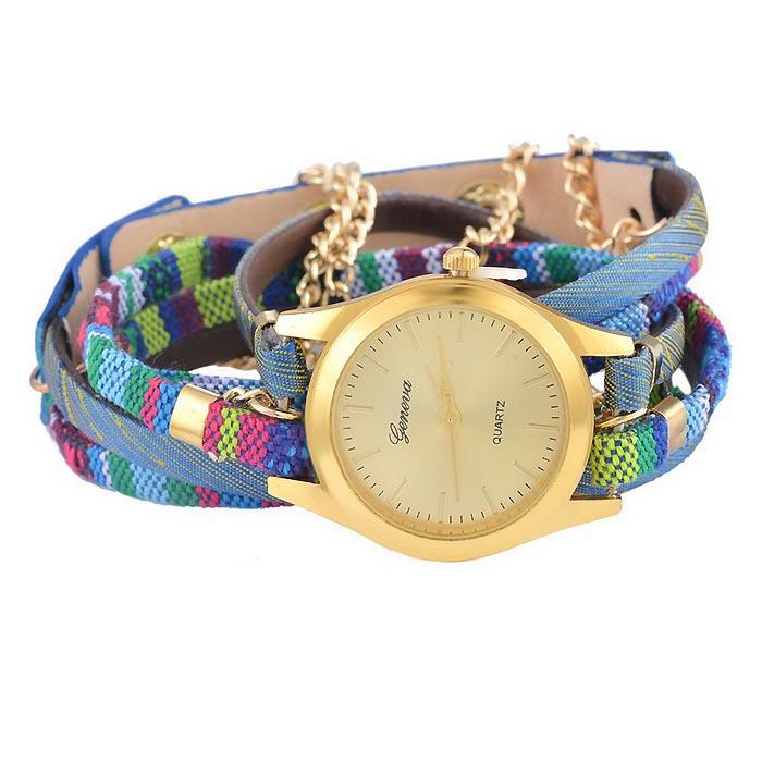 Geneva horloge Bohemian Wrap Goud Blauw