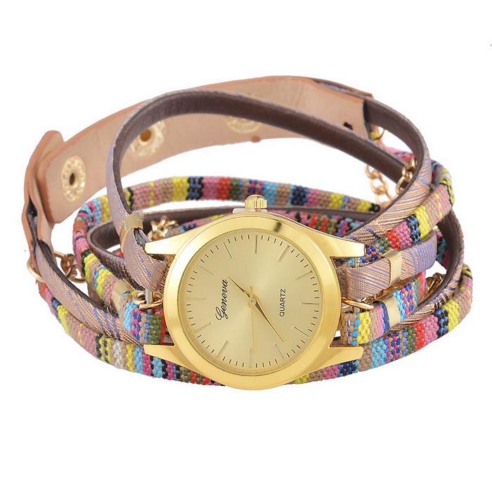 Geneva horloge Bohemian Wrap Goud Oud Roze