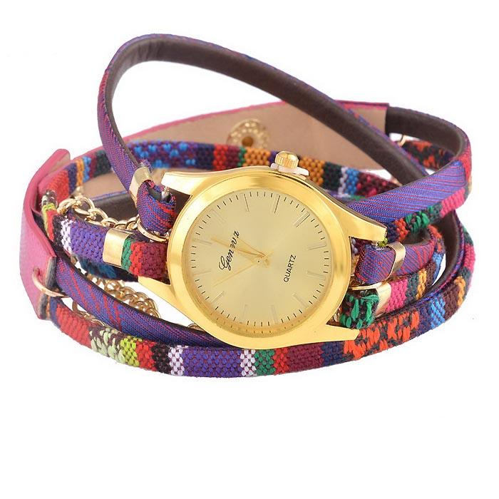 Geneva horloge Bohemian Wrap Goud Paars