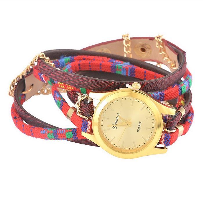 Geneva horloge Bohemian Wrap Goud Rood