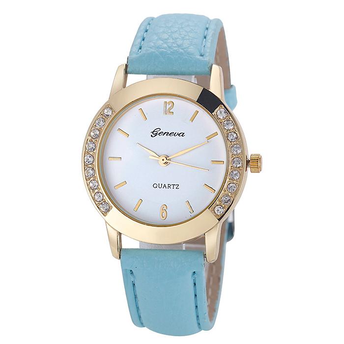 Geneva mode horloge Diamonds Gold Turquoise