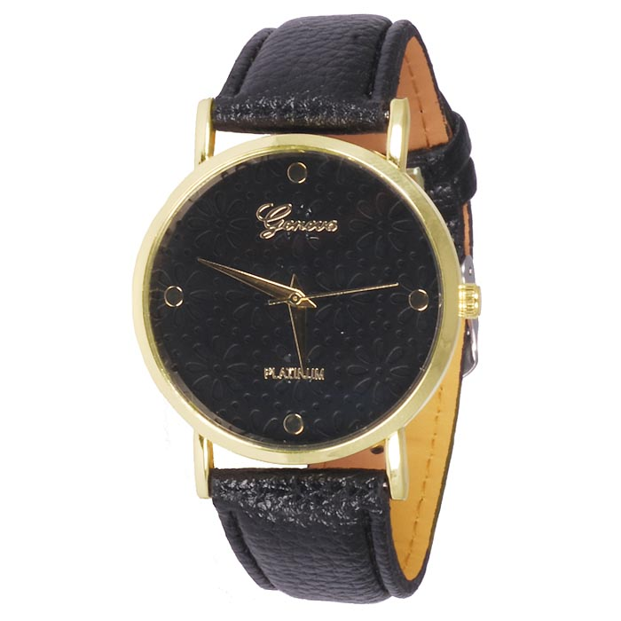 Geneva Platinum Fashion horloge Floral Black
