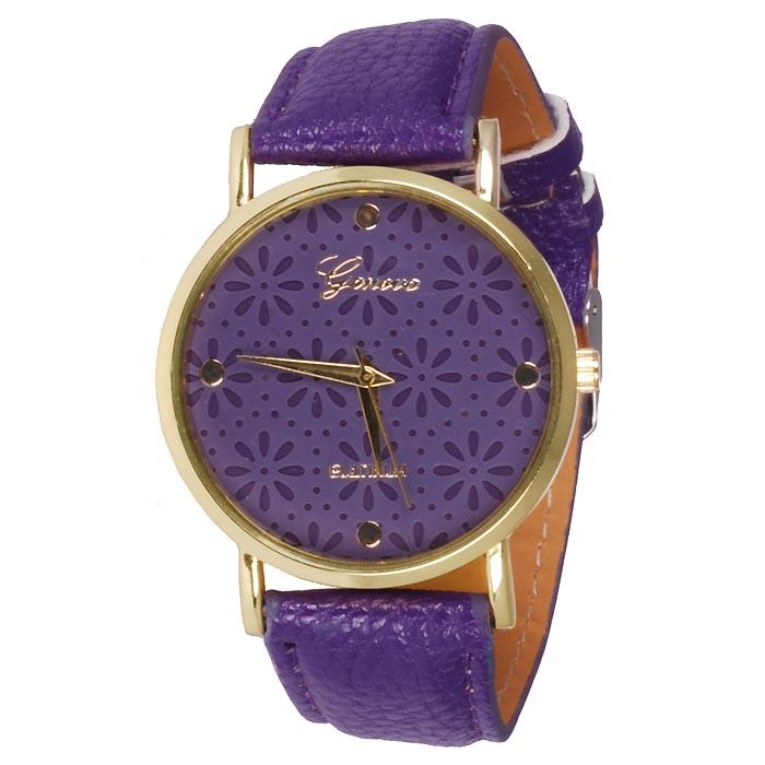Geneva Platinum Fashion horloge Floral Purple
