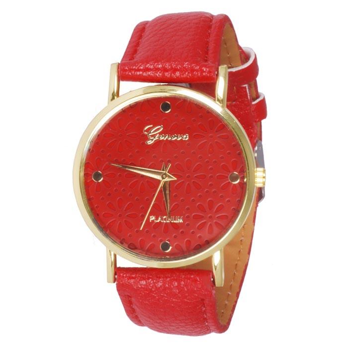 Geneva Platinum Fashion horloge Floral Red
