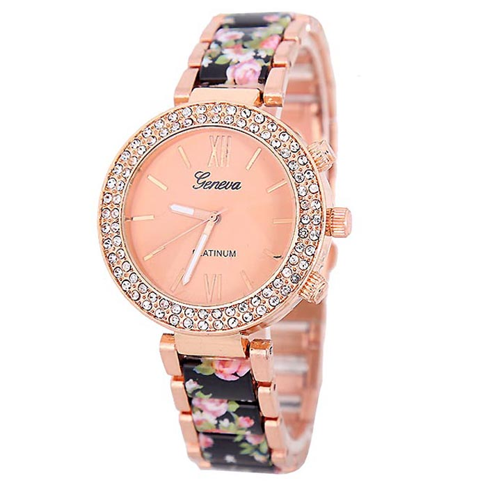 LookingGoodToday, Geneva Platinum horloge Flower Diamonds Rose Black